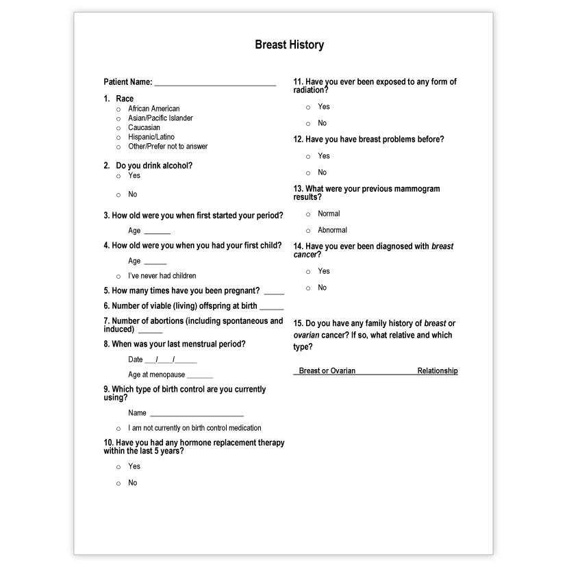 New Patient Packet 6 - Breast History