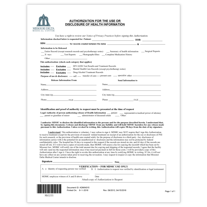 Release of Information Authorization